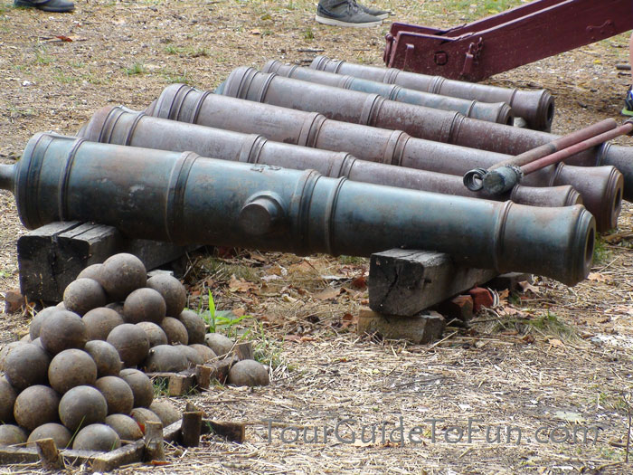 cannons cannon balls at colonial williamsburg